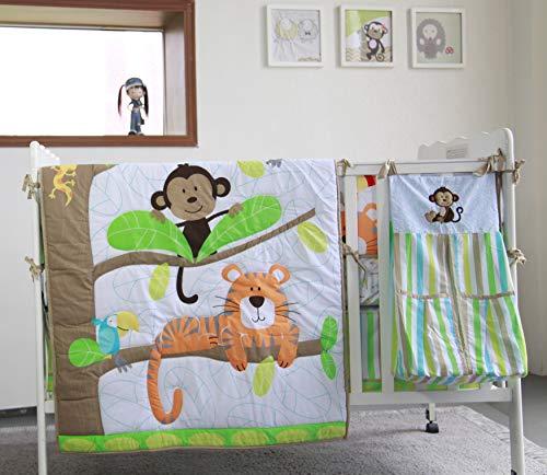 Tiger Monkey Nursery Crib Bedding Set 5 Pieces Baby Boy Bedding Set Newborn Crib Bedding Set with Bumpers & Diaper Stacker Gift Idea