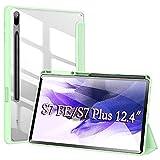 Funda para Samsung Galaxy Tab S7 FE /S7+/S7 Plus 12,4 Pulgadas,Estuche liviano de Tres Pliegues con portalápices,Delgado Transparente Back PC Estuche Folio para S7 FE con Reposo/Activación,Verde
