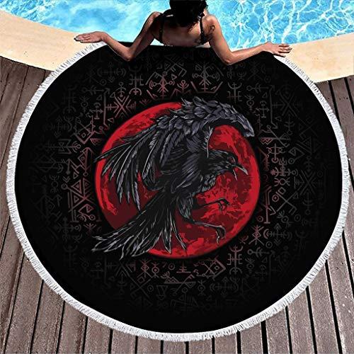 MINNOMO Vikingo Odin Rabe Blut Luna Fathurk Impresión Ronda Toalla de playa con borlas psicodélicas Grande Playa White 150 cm