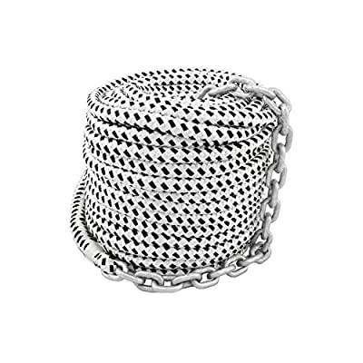 Norestar 1/2 inch Double Braided Nylon Anchor Rope with 1/4 inch HT G4 Chain for Boat Windlass, Prespliced