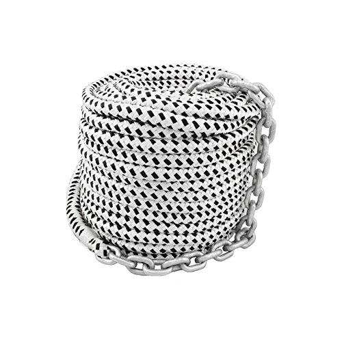 Norestar 200 feet by 1/2 inch Braided Nylon Boat Anchor Rope and 15 feet by 1/4 inch Marine HT G4 Chain for Boat Windlass, Prespliced