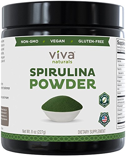 Non-GMO Spirulina Powder, 8 oz: Non-Irradiated and California-Grown - The Finest Green Superfood for Smoothies and Juices (Spirulina)
