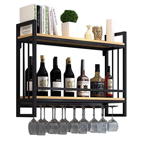 Alqn Weinregale Wandmontage Holz Metall | Hängender Weinglashalter | Weinregal mit Glashalter | Abgehängter Weinflaschenhalter | Weinregal Holzlagereinheit,80 cm × 20 cm