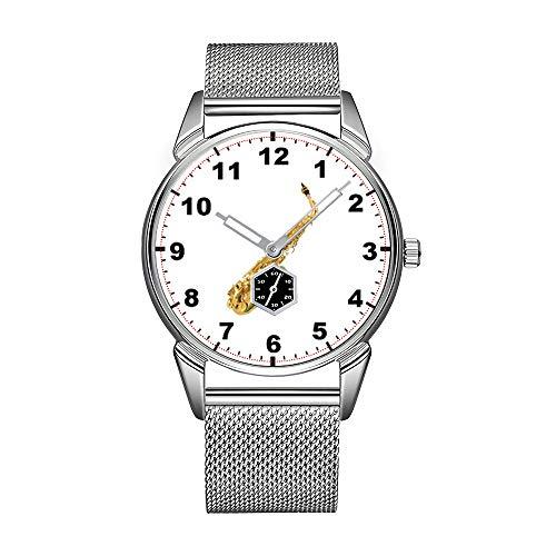 Fashion herenhorloge zilver roestvrij staal waterdicht horloge mannen top merk herenhorloge Saxofoon Design polshorloges