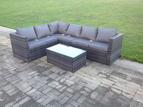 6 Seater Rattan Corner Sofa with Coffee Table in Grey