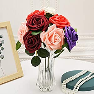 fake flowers bulk artificial flowers fake roses with stems for diy fake rose flowers for crafts wedding bouquet baby shower centerpieces arrangements party tables rose home decoration 25pcs (colorful) silk flower arrangements