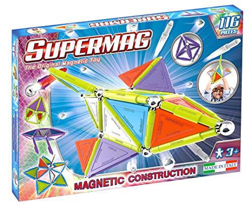 Supermag, Linea Tags Trendy, Gioco Costruzioni Magnetiche per Bambini, Colori Variegati, 116 Pezzi, Anni 3+