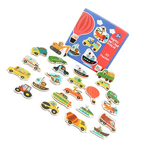 Flushzing Großer Matching Puzzle-Karten 3D-Holz-Cartoon-Tier-Frucht-Gemüse Verkehr Baby-pädagogisches Lernen Puzzle Spielzeug