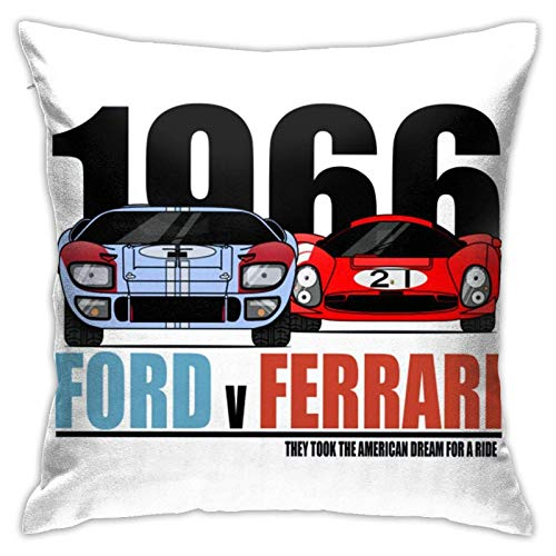 Cuscino con inserto per cuscino Ford Vs Ferrari, cuscino decorativo morbido cuscino quadrato per letto divano auto 45,7 x 45,7 cm