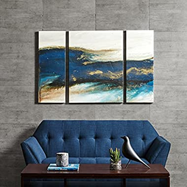 Ink+Ivy Rolling Waves Abstract Blue White Canvas Wall Art 24X32, Abstract Modern/Contemporary Wall Décor