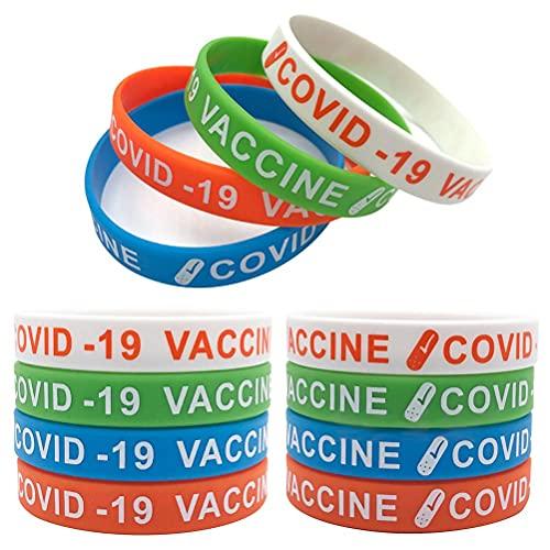 Jsdufs 24 Piezas Pulseras vacunas, Pulseras de Silicona, Pulseras de Silicona con Grabado de Texto, Escritura, Pulseras de identificación de vacunación para Hombres y Mujeres