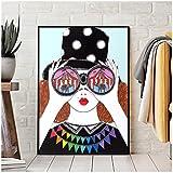 JLFDHR Moda Mujer Gafas Paisaje Abstracto Cartel Pared Arte decoración Lienzo Pintura imágenes Cartel Vintage Impresiones Sala de Estar decoración-60x90cmx1 sin Marco