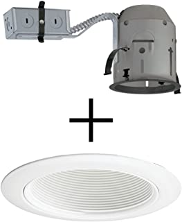 Juno Lighting TC1R & 14W-WH Combo 4-Inch TC rated Remodel Recessed Housing with White Baffle Downlight Trim
