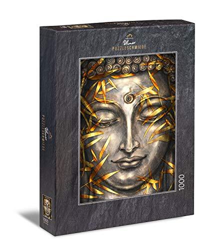 """Ulmer Puzzleschmiede - Puzzle """"Buddha in Silber und Gold"""" - Klassisches 1000 Teile Erwachsenenpuzzle – Ausgewogenes Puzzlemotiv mit dem Kopf des Buddha - klare Linien harmonieren mit goldenen Nuancen"""
