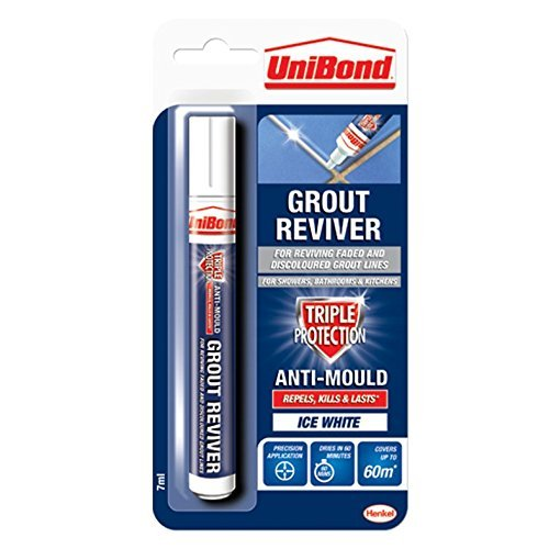 Unibond 2 x Grout Reviver Pen/Anti-mould grout pen for bathroom, kitchen, shower and floor tiles / 1...