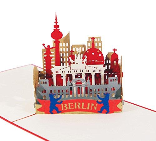 3D KARTEBerlin Skyline I Pop-Up Karte als Reisegutschein, Grußkarte, Geschenkkarte, Geburtstagskarte I Klappkarte als Andenken, Souvenir
