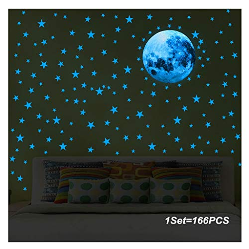 LiKin Luminoso Pegatinas de Pared,Fluorescente Decoración de Pared Estrellas y Luna para Dormitorio Chico Niño Bebé