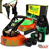 Complete Slackline Kit with Training Line - 60 ft Slack Line Longest Ever w/Tree Protectors Arm...