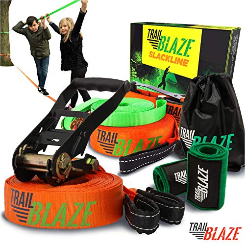 Complete Slackline Kit with Training Line - 60 ft Slack Line Longest Ever w/Tree Protectors Arm Trainer Ratchet Cover Ideal for Beginners Kids - Slack Lines for Backyard Ninja Tight Rope for Trees