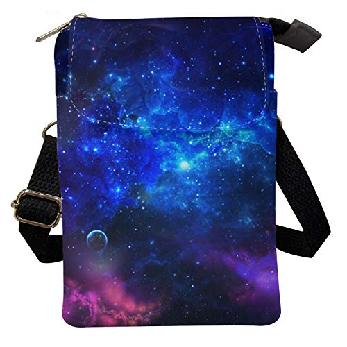 Agroupdream Little Shoulder Bags Canvas Crossbody Phone Purse Space Galaxy Mulitiple Pocket Card Slots Money Organizer for Women Girls Boys Teens