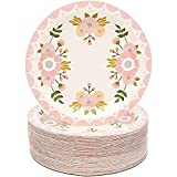 Pink Floral Paper Plates for Birthday Party,...