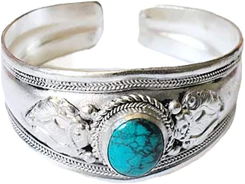 Blue Stabilized Turquoise Argentium Plated Stainless Steel & Ornate Alloy Band Adjustable Cuff Bracelet | Nepal Jewelry
