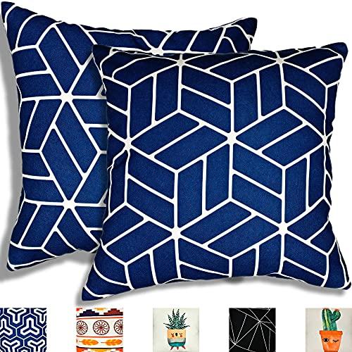 TROOIA Juego de 2 fundas de almohada decorativas con cremallera oculta, diseño...