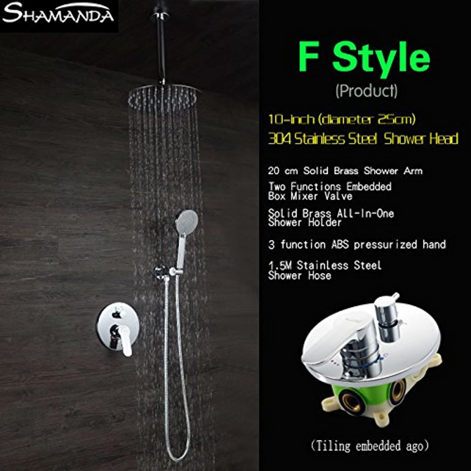 Luxury Concealed Round Two Functions Embedded Box Mixer Valve Shower Set with Various Styles Ceiling Shower Head and Hand Shower,F Style
