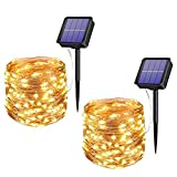 Xmifer 2 Pack Solar Fairy Lights, 200 LED Outdoor Solar String Lights Garden Copper Wire Decorative Lights 66Ft Waterproof Indoor Outdoor Lighting for Garden, Patio, Yard, Christmas