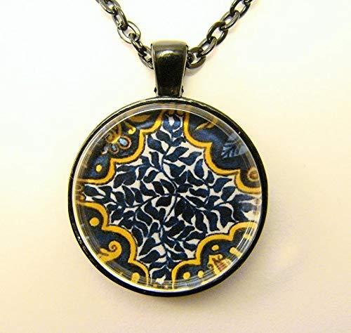 heng yuan tian cheng Mexikanische Kachel-Halskette, blaue Blätter, Detail aus handbemalter mexikanischer Fliese, Freundschaftszeichen