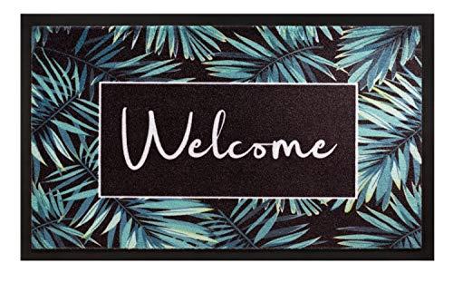 Fußmatte Blumen Motiv | Schmutzfangmatte Palmenblätter | Fussmatte Welcome | Fußabtreter rutschfest | Schmutzmatte innenbereich 45×75 cm | Schuhmatte für Eingangsbereich Haustür Flur