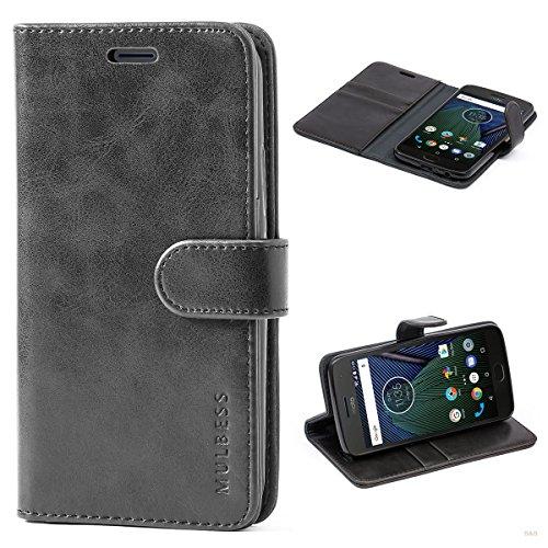 Mulbess Cover per Motorola Moto G5 Plus, Custodia Pelle con Magnetica per Motorola Moto G5 Plus Case, Nero