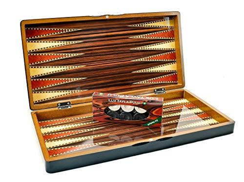 Backgammon Tavla/Dame Holz Koffer Spiel Set Brettspiel - Klassisches Strategiespiel mit 2 in 1 Spielbrett