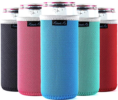 Slim Can Cooler Sleeves (5-Pack) Insulated Neoprene Slim Can Koolie for White Claw - Skinny Can Cooler for Seltzer - Skinny Can Koolies for Slim Beer - Tall Can Koolie for Truly Coolies for Slim Cans