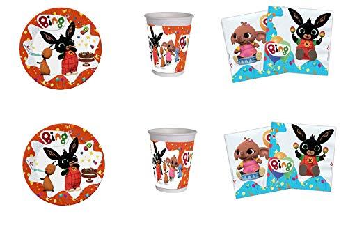 Party Store web by casa dolce casa New Bing Coordinato ADDOBBI Festa - Kit n°6 CDC-(8 Piatti,8 Bicchieri, 20 TOVAGLIOLI)