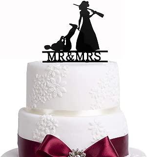 Bridal Garter Hunter Rifle, Wedding Cake Topper, The Hunt is Over Cake Topper, Bride Groom Dragging, Funny Cake Topper, Antler Topper