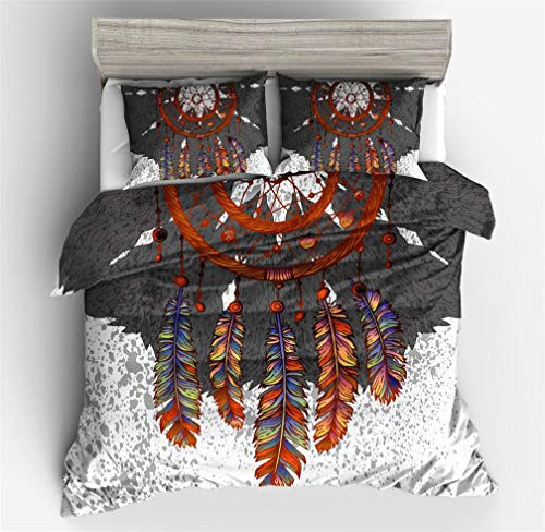 HNHDDZ India Bohemia Atrapasueños Exótico Estilo Nacional Conjuntos de Funda nórdica Negro Blanco Vistoso Pluma Ropa de Cama (Atrapasueños 3, 180x220 cm - Cama 90 cm)