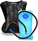 Aduro Sport Hydration Backpack [Hydro-Pro], 1.5L / 2L / 3L BPA Free Water Bladder, Unisex, Water Resistant, Durable, Light Weight, Adjustable Sizing (Black, 1.5 Liters (50 Fl. Oz))