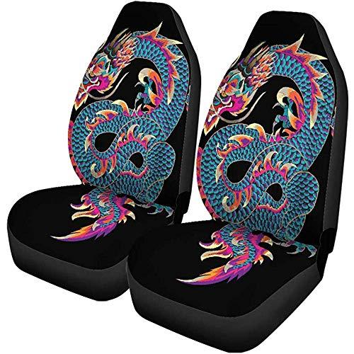 Autositzbezüge Patch Embroidered Dragon in japanischen Aufnähern und Manufacturing Snake Auto Front Seats Protector