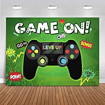 Mocsicka Game On Theme Party Photography Backdrop for Kids Boys Birthday Party Vinyl Funny Gaming Party Green Background Banners Baby Shower Cake Smash Photo Shoot Props Favor  7x5ft