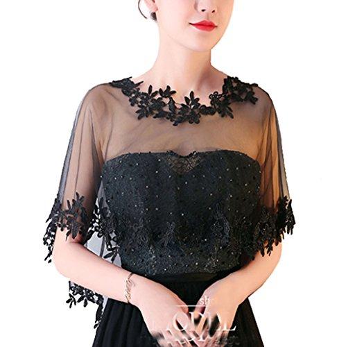 Cheerlife Elegant Damen Spitze Cape Boleros Top Spitzejacke für Brautkleid Abendkleid Cocktaikleid Tuch Umhang Lace-Schwarz