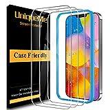 [3 PACK]UniqueMe Cristal templado para iPhone 12 / iPhone 12 Pro 5G (6.1 pulgadas), [Sin burbujas] [Sensible al tacto] Dureza 9H Protector de pantalla Película HD Vidrio Con marco de instalación