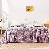HT&PJ Fleece Throw Blanket Super Soft Lightweight Flannel Microfiber Velvet Cozy Warm Throw Blanket for Living Room (Light Purple,(Throw50 X 60' ))