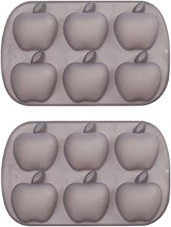 Mirenlife 6 Cavity Apple Shape Non Stick Silicone Mold for Cake, Cupcake, Chocolate, Pastry, Muffin, Bread, Big Ice Cube, Soap, and More, Set of 2
