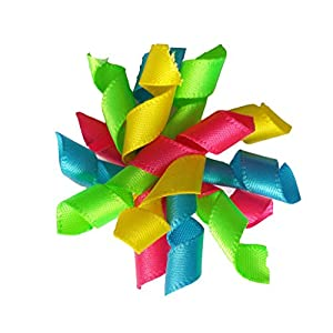 PET SHOW Pet Small Dogs Hair Bows with Rubber Bands Cat Hair Accessories Grooming Supplies Curly Rainbow Pack of 20