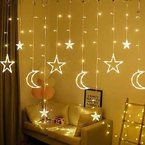 LED Lichterketten 3.5M Stern Mond Vorhang Lichter LED Girlande Dekorative Lampe für Hochzeit Hausgarten Weihnachten Fenster Vorhang Dekoration (Warm white)
