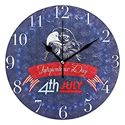 FunnyCustom Round Wall Clock Fourth of July USA Independence Day Acrylic Creative Decorative for Living Room/Kitchen/Bedroom/Family