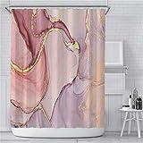 Marmor Duschvorhang für Badezimmer, rosa Blush Stoff Duschvorhang mit Haken, moderne Luxus abstrakte Textur Badezimmer Vorhang Set Wasserdicht Waschbar, 183 x 183 cm