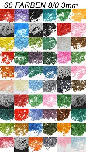 60 Farben Rocailles 3mm Perlen Set 60 Pack 60 Farben 1,2 Kilo Glasperlen Rund 8/0 40000stk POSTEN Bastelset