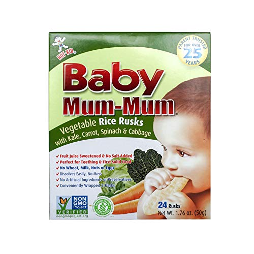Hot-Kid Baby Mum-Mum Rice Rusks, Vegetable, 24 Pieces (Pack of 6) Gluten Free, Allergen Free, Non-GMO, Rice Teether Cookie for Teething Infants